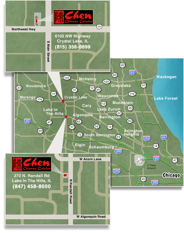 Map to Chen Chinese Cuisine Restaurant in Lake In The Hills, IL and Crystal Lake, IL